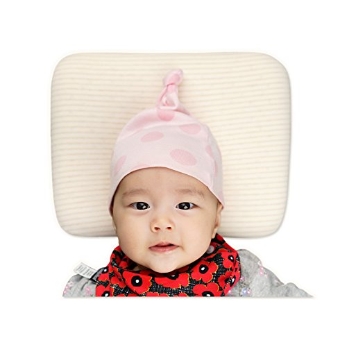 Newborn Pillow Anti-Roll Sleeping Head Support Shaping Prevent Flat Head Fit Cradle Crib Bassinet Stroller Bed Swing Soft Natural Latex Pillow for New Born Baby Infant and Toddler (0-12 months)