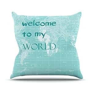 """Kess Inhouse ch1031cop0318x 45,7cm Catherine Holcombe """"Bienvenidos a mi mundo cita"""" al aire libre manta cojín–Multicolor"""