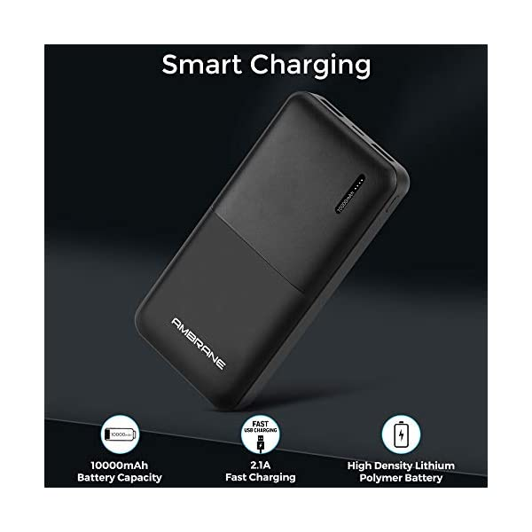 Ambrane 10000mAh Li-Polymer Powerbank with Compact Size & Fast Charging for Smartphones, Smart Watches, Neckbands… 2021 June 10,000 mAh Lithium Polymer Battery charges charges iPhone 8 - 4.6 times, Samsung Galaxy J7 - 2.8 times, MI A2 : 2 times , MI Redmi 6A - 2.1 Times, Vivo V3 - 2.16 Times Full recharge of power bank takes 5 to 7 hours with 2A wall charger What you get: 1 Power Bank, 1 Cable, 1 User Manual and 180 days warranty , Item Weight:- 188.7 gms