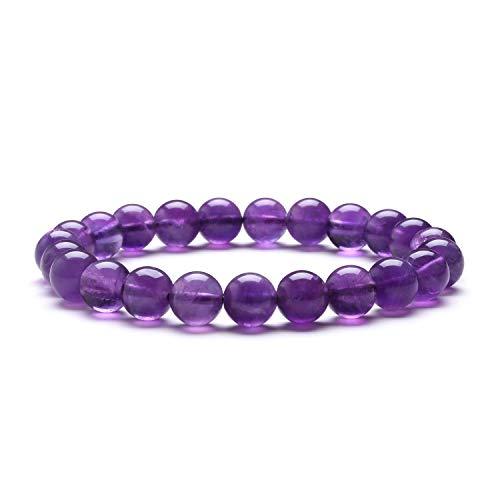 Women Bracelet J.Fée Bead Bracelet Crystal Bracelet Stone Bracelet Purple Bracelet Amethyst Bracelet Natural Stone Bracelet Gemstone Bracelet 8mm Bead Bracelet,Gift for Boyfriend Men for Birthday