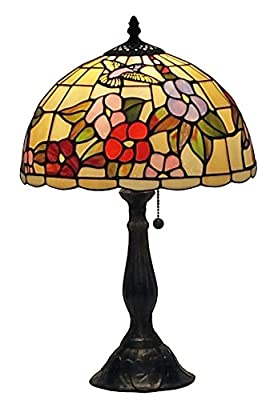 Amora Lighting Tiffany Style AM054TL12 Floral Design 19-inch Table Lamp