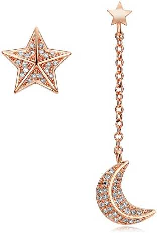 JustForBridal Mismatched Star and Moon Chain CZ Rose Gold Color Drop Earrings for Women