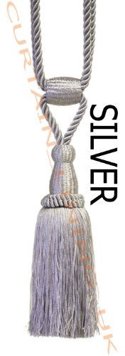 Silver - X2 Monaco Designer Tassel Rope Tie Back For Fabric Curtain by Pandoras Upholstery