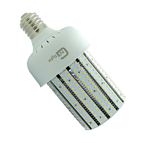 NUOGUAN 175W Mercury Vapor Replacement 50W LED Corn Bulb Mogul E39 Base Crystal White 5000K 6543 Lumens 360 Degree Beam Angle 100-277V Outdoor Post Lights for Home Garden