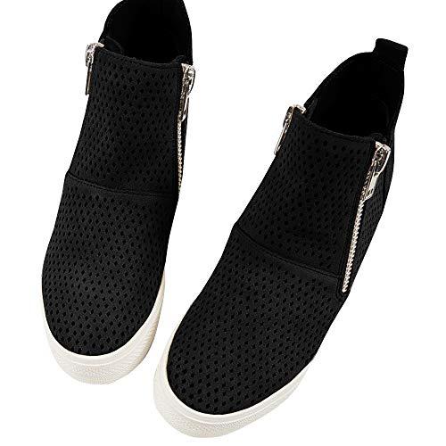 Hidden Women's Booties Sneakers Platform Ankle Perforated black 3 Side Wedges Suede Zipper Faux ZZEqw6r