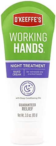 O'Keeffe's Working Hands Hand Cream, 3 Oz Tube and Night Treatment Hand Cream, White, 103002