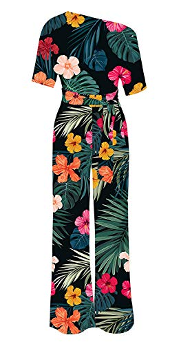 Imysty Womens Sexy One Shoulder Jumpsuits Floral Wide Leg Romper Pants with -