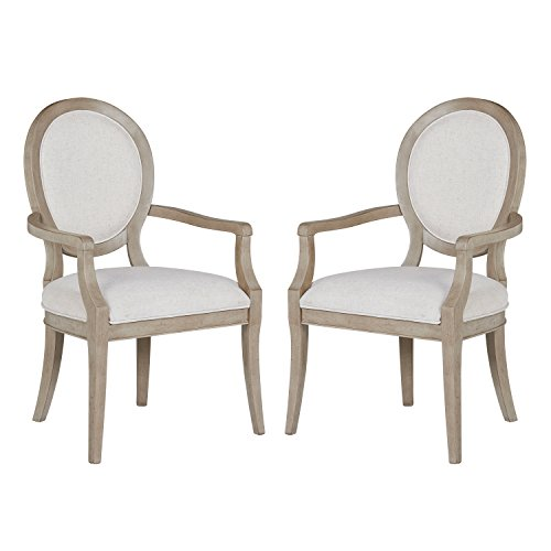 "Stone & Beam Crawford Modern Wood Dining Room Kitchen Chairs with Arms, 38.75""H, Set of 2, Grey"