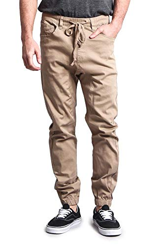 Victorious Mens Twill Jogger Pants (Large, Wheat)