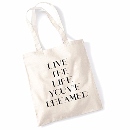 Live The Life Youve Dreamed Funny Mothers Day Birthday Beech Tote Bag - Orange Natural