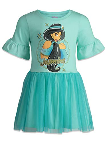 Disney Princess Jasmine Girls Dress with Ruffle Sleeves & Tulle Skirt Blue (5) -