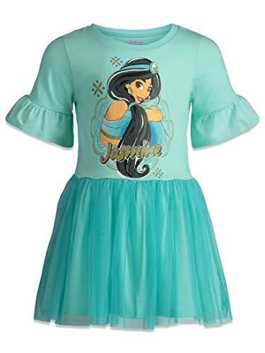 Disney Princess Jasmine Girls Dress with Ruffle Sleeves & Tulle Skirt Blue (2T) -