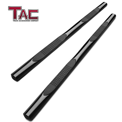 TAC Side Steps for 2007-2018 Toyota Tundra Double Cab Truck Pickup 4 inches Oval Black Nerf Bars Step Rails Running Boards Off Road Exterior Accessories (2 Pieces Running Boards)