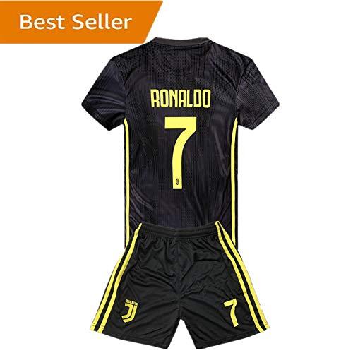 aa563187c  7 Ronaldo Juventus Kids Youth Away Boys Soccer Jersey   Shorts 18-19  Season Black
