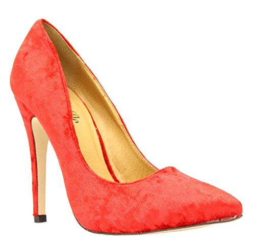 Ladies Low Mid High Stiletto Heels Pointy Pump Women Work Smart Court Shoes Size CORAL PLUM VELVET nYZYW