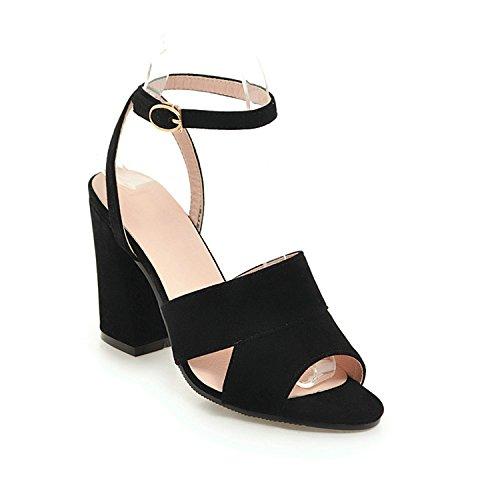 Special-Shop Women Sandals Peep Toe Flock Women Shoes Platform Buckle Heel Women Sandals,Negro,11
