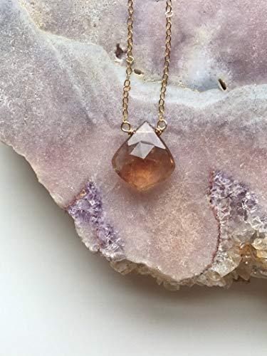 Imperial Topaz Necklace on 14K Gold Filled 18 Inch length November Birthstone Jewelry ()