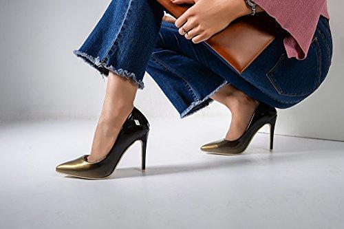 Mila Dame Bonnie08 Kvinner Mote Pyntet Glitrer Kontrastfarge Spiss Tå Pumper Høy Hæl Stilettos Sexy Slip På Sko, Bronse / Bk
