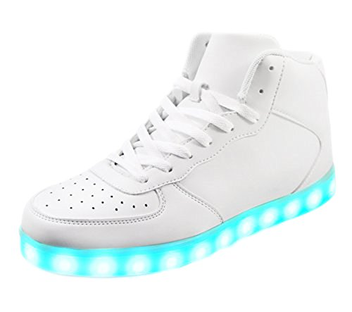 High Top Light Up Flashing Glow in The Dark Women's Men's Galaxy USB Charging Multi Color LED Light Up Flashing Sneakers White 14W/12M