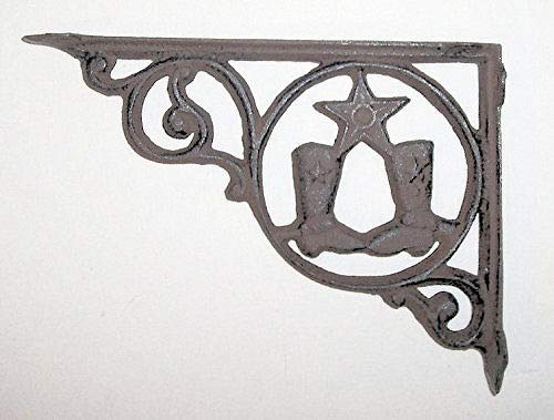 Western Star Shelf Brackets - Dist By Classyjacs - Heavy Cast Iron - All Purpose Pair of Boots and Star Hanger - Wall Mount - Can be Used For Shelf Bracket - (Antique Rust Finish - Primitive Country Western Design) x