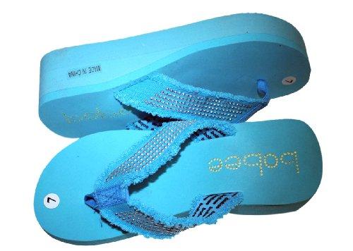 Kvinners Sandal Stranden Flip Flops Kile Med Piggdekk Stropper Stil Thongs  Stil # 2928 Aqua