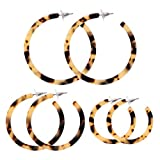 PHALIN JEWELRY Acrylic Round Earrings Resin Circle Hoop Earrings for Girls and Ladies (D-3PCS Leopard Larger)
