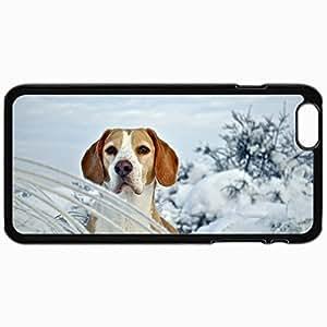 Fashion Unique Design Protective Cellphone Back Cover Case For iPhone 6 Case Dog Puppy Beagle Snout Snow Winter Black by icecream design