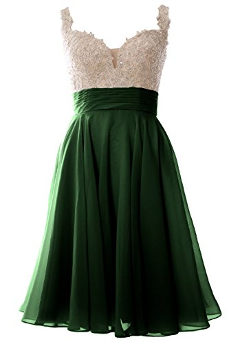 MACloth Women Straps Short Prom Dress Lace Chiffon Wedding Party Formal Gown (16w, Dark Green) (Night Moves Prom Gowns)