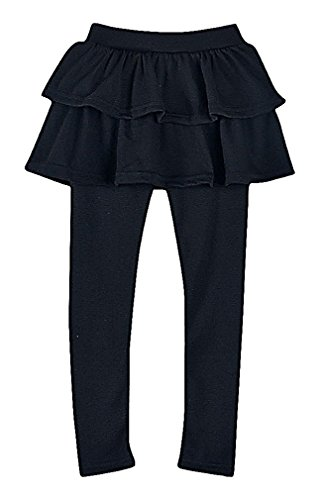 [Sweety, Girls' Fancy Solid Color Soft Elastic Cotton Ruffled Skirted Long Leggings, Black 6] (Junior Jog Suit)