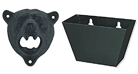 Sea Star ® Cast Iron Wall Mount Grizzly Bear Teeth Bite Bottle Opener (Black Bear)
