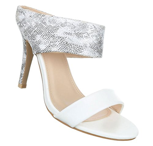 Damen Sandaletten Schuhe Pumps Abendschuhe Elegant Party Club High-Heelsnakeoptik Peep-Toe Schwarz 36 37 38 39...