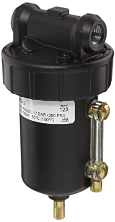 "Alemite 5604-2 Moisture Separator, Moisture Separator, 5 oz Capacity, 40 CFM, Manual Drain, 1/4"" (NPTF) Inlet, 1/4"" (NPTF) Outlet, 1/4"" NPTF"