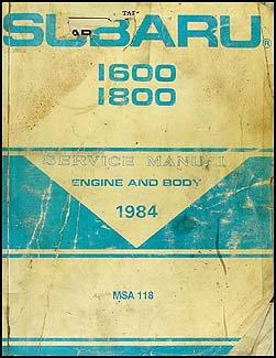 - 1984 Subaru Repair Shop Manual Original (also 1985 hatchback and Brat)