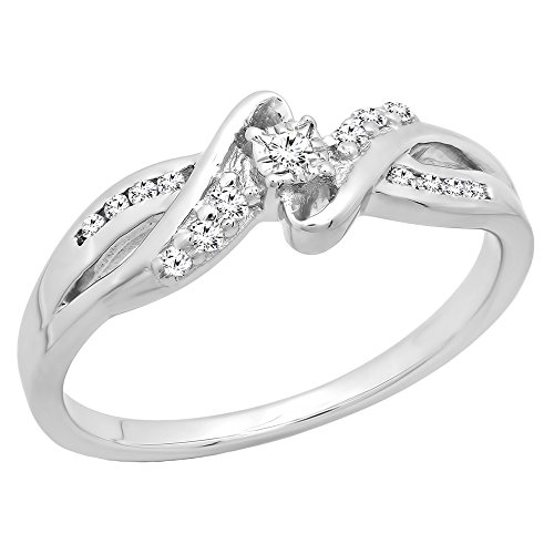 (Dazzlingrock Collection 0.15 Carat (ctw) Sterling Silver Round Diamond Bypass Split Shank Ladies Promise Ring, Size 4.5)