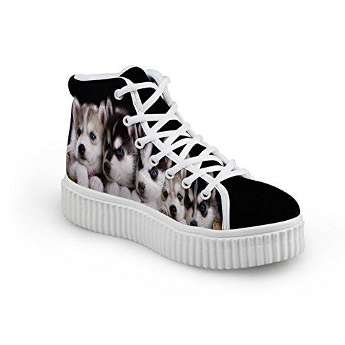Idea Di Abbracci Carino Scarpe Stampa Cane Pet Pizzo Casual In Alto Scarpe Sneaker Piattaforma Superiore8