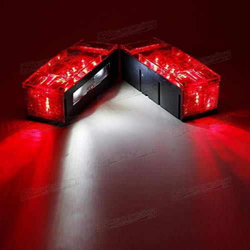 (Left+Right LED Waterproof Red Trailer Boat Rectangle Rectangular Low Profile Stop Turn Submersible Light)