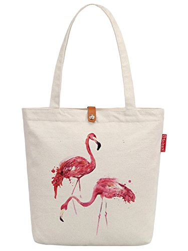 So'each Women's Animal Flamingo Graphic Top Handle Canvas Tote Shopping Bag