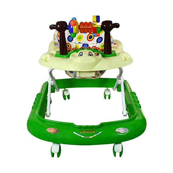 Panda Musical Baby Walker with Tray   Adjustable Height   6 Months   Best Toy for Infant   Green Colour