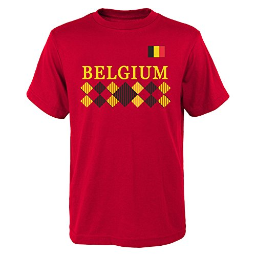 """OuterStuff World Cup Soccer Belgium Men's""""One Team 2018"""" Tee, Red, Mens Large"""
