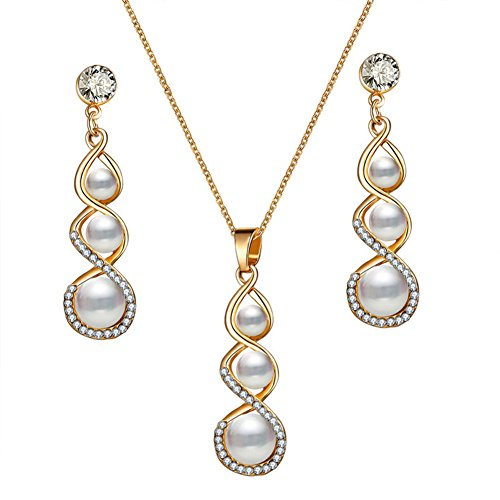 PHOCKSIN Elegant Infinity Simulated Pearl Long Pendant Necklaces and Drop Earrings Sets Bride Bridesmaid Wedding