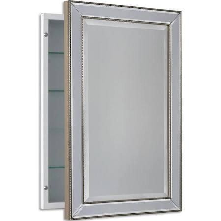 (Headwest Inc Headwest Metro Beaded Recessed Medicine Cabinet - Silver/Champagne - 16 x 26)