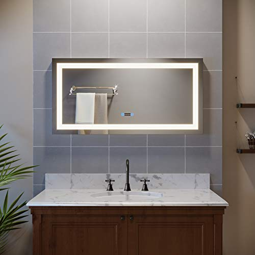 SUNNY SHOWER Bathroom Mirror, Frameless Vanity Mirror with Lights, Wall Mounted LED -