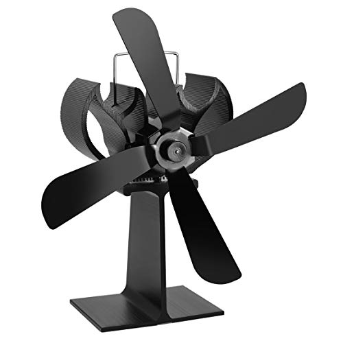 Black Heat Powered 4 Blades Estufa Fan Log Fireplace Wood Burner Eco Ultra Quiet Blower Sin batería ni Electricidad
