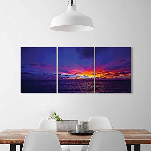 Pacific Northern Flat Car - Color 3 Piece Wall Art Painting Frameless eDream Sunin Ocean Northern Lights yd Pacific Sea Atmosphere Hotel Office Decor Gift Piece W24