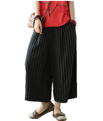 YESNO PD8 Women Casual Loose Cropped Pants 100% Linen Pinstriped Wide Leg Low Crotch Half Elastic - Cropped Pants Dress