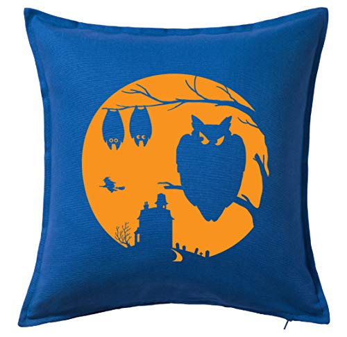 Tenacitee Halloween Moon Blue Throw Pillow with Duck Feather Filling for $<!--$24.99-->