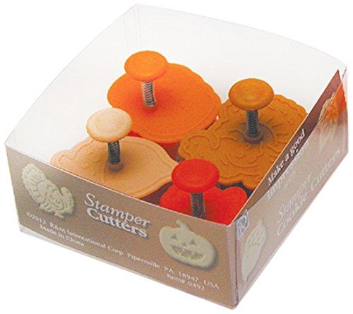R & M International 492 Pastry/Cookie/Fondant Stamper, 2-Inch, Thanksgiving - Turkey, Acorn, Pumpkin, Oak Leaf