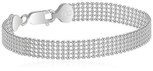 Beads Silver Chain Bracelet - Sterling Silver Five-Row Shot Bead Chain Bracelet, 8