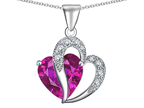 Star K Large 12mm Double Heart Pendant Necklace in Sterling Silver with Chain