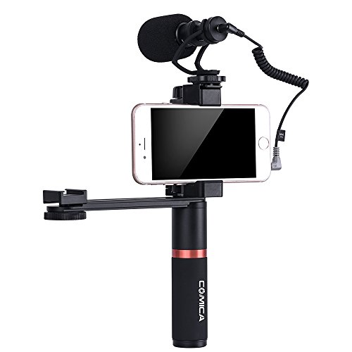 Comica Smartphone Video Kit CVM-VM10-K4 Filmmaker Handle Grip with Shotgun Video Microphone Video Rig for iPhone X 8Plus 8 7Plus 7 Samsung Huawei etc. by Comica